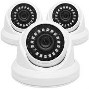 Kit 3 Câmeras de Segurança AHD Dome 2MP 3,6mm 1920x1080p Infravermelho Residencial Interna Branca