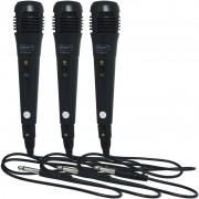 Kit 3 Microfones Dinâmico com Fio P10 Cabo 1 Metro para Karaokê e Caixa de Som Knup KP-M0001 Preto