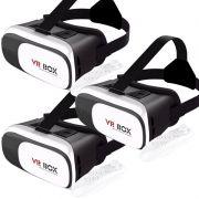 Kit 3 Óculos Vr Box 2.0 3D Realidade Virtual P/ Celular Smartphone Andoid e Ios + Controle Bluetooth