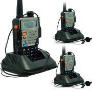 Kit 3 Rádios Comunicador HT Profissional Dual Band UHF VHF FM Baofeng UV-5RE Preto + Fone de Ouvido