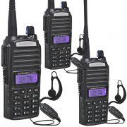 Kit 3 Rádios Comunicador HT Profissional UHF VHF Baofeng BF-UV82 Preto + Fone