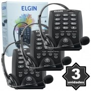 Kit 3 Telefones Headset com Base Discadora Teclado Elgin HST 6000 Telemarketing Preto