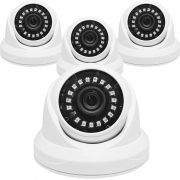 Kit 4 Câmeras de Segurança AHD Dome 2MP 3,6mm 1920x1080p Infravermelho Residencial Interna Branca