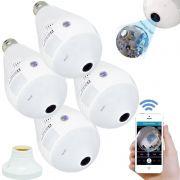 Kit 4 Lâmpadas Câmera Espiã 360° Panorâmica Wifi Ip Led Bivolt B13-L Microfone Alto Falante Embutido
