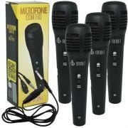 Kit 4 Microfones Dinâmico com Fio P10 1,5 Metros para Karaokê e Caixa de Som Infokit MIC-PF10 Preto