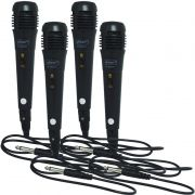 Kit 4 Microfones Dinâmico com Fio P10 Cabo 1 Metro para Karaokê e Caixa de Som Knup KP-M0001 Preto