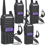 Kit 4 Rádios Comunicador HT Profissional UHF VHF Baofeng BF-UV82 Preto + Fone