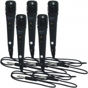 Kit 5 Microfones Dinâmico com Fio P10 Cabo 1 Metro para Karaokê e Caixa de Som Knup KP-M0001 Preto