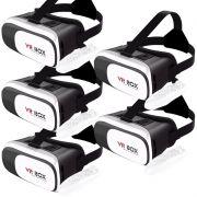 Kit 5 Óculos Vr Box 2.0 3D Realidade Virtual P/ Celular Smartphone Andoid e Ios + Controle Bluetooth