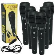 Kit 6 Microfones Dinâmico com Fio P10 1,5 Metros para Karaokê e Caixa de Som Infokit MIC-PF10 Preto