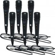 Kit 6 Microfones Dinâmico com Fio P10 Cabo 1 Metro para Karaokê e Caixa de Som Knup KP-M0001 Preto