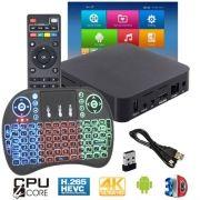 Kit Aparelho Conversor Smart Box Tv 8Gb + Teclado Iluminado I8 Android 7.1 Exbom 4K HD Hdmi Usb Wifi