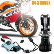 Kit Bi Xenon Moto 12V 35W H4-3 8000K