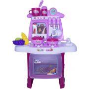 Kit Cozinha Infantil Completo Fogão Forno Pia 29 Peças com Luz e Som Importway BW034 Rosa