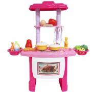 Kit Cozinha Infantil Completo Fogão Forno Pia 43 Peças com Luz e Som Importway BW-091 Rosa