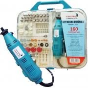 Kit Micro Retífica 250W 160 Pçs Acessórios Ferramentas c/ Maleta Retificadeira Importway Azul