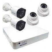 Kit Monitoramento 4 Câmeras de Segurança Infravermelho com Dvr Ahd 720P Completo Multilaser SE118