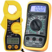 Kit Multímetro Digital Portátil Exbom MD-200L + Alicate Amperímetro Digital MT87 Profissional