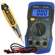 Kit Multímetro Digital Portátil MD-180L + Caneta Detectora Tensão e Corrente Teste Energia CNTT-D10
