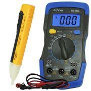 Kit Multímetro Digital Portátil MD-180L + Caneta Detectora Tensão Teste Energia Com Alerta PZ-1AC-D