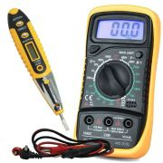 Kit Multímetro Digital Portátil MD-200L + Caneta Detectora Tensão e Corrente Teste Energia CNTT-D10