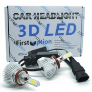 Kit Par Lâmpada Super Led Automotiva Farol Carro 3D H11 8000 Lumens 12V 24V First Option 6000K