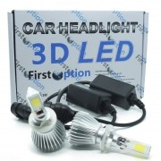 Kit Par Lâmpada Super Led Automotiva Farol Carro 3D H27 8000 Lumens 12V 24V First Option 6000K