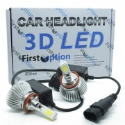 Kit Par Lâmpada Super Led Automotiva Farol Carro 3D H8 8000 Lumens 12V 24V First Option 6000K