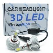 Kit Par Lâmpada Super Led Automotiva Farol Carro 3D HB3 9005 8000 Lumens 12V 24V First Option 6000K