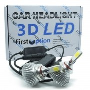 Kit Par Lâmpada Super Led Automotiva Farol Carro 3D HB4 9006 8000 Lumens 12V 24V First Option 6000K