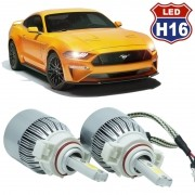 Kit Par Lâmpada Super Led Automotiva Farol Carro H16 10000 Lumens 12/24V 6000K
