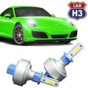 Kit Par Lâmpada Super Led Automotiva Plug Original Farol Carro H3 9000Lm 12/24V 6000K