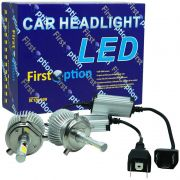 Kit Par Lâmpada Super Led Automotiva Farol Carro H4 (Bi) 6000 Lumens 12V 24V First Option 6000K