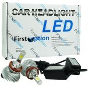 Kit Par Lâmpada Super Led Automotiva Farol Carro H8 6000 Lumens 12V 24V First Option 6000K