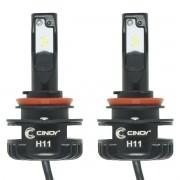 Kit Par Lâmpada Super Ultra Led Plus Automotiva H8 H9 H11 12000 Lumens 6500K Cinoy YN-LSLH11P