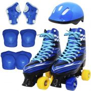 Kit Patins Clássico Quad 4 Rodas Roller + Acessórios Masculino Azul Tam 32 Importway BW-021-AZ