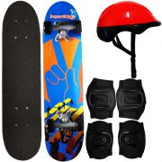 Kit Skate Infantil 24´´ Completo + Acessórios Capacete Masculino Feminino Importway BW-013