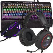 Kit Teclado Mecânico Mouse Headset 7.1 Gamer Profissional Usb Abnt2 Led Rgb BKGX1 KPV19 KP401 Preto