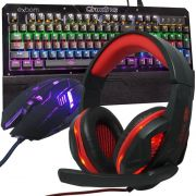 Kit Teclado Mecânico Mouse Headset Gamer Profissional Usb Abnt2 Led BKGX1 GM600 KP396 Preto Vermelho