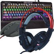 Kit Teclado Mecânico Mouse Headset Gamer Profissional Usb Abnt2 Led BKGX1 GM601 GHX20 Preto Vermelho