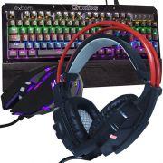 Kit Teclado Mecânico Mouse Headset Gamer Profissional Usb Abnt2 Led BKGX1 KPV19 GHX20 Preto Vermelho