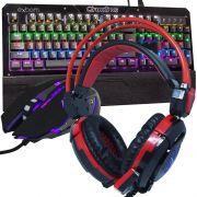 Kit Teclado Mecânico Mouse Headset Gamer Profissional Usb Abnt2 Led BKGX1 KPV19 GHX30 Preto Vermelho