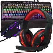 Kit Teclado Mecânico Mouse Headset Gamer Profissional Usb Abnt2 Led BKGX1 KPV19 KP396 Preto Vermelho