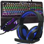 Kit Teclado Mecânico Mouse Headset Gamer Profissional Usb Abnt2 Led Rgb BKGX1 KPV19 KP396 Preto Azul