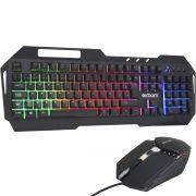 Kit Teclado Metal Mouse Gamer Computador Pc Usb Abnt2 Iluminado Led Rgb Exbom BK-G800 Preto