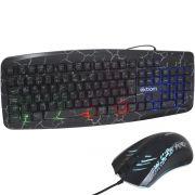 Kit Teclado Mouse Gamer Computador Pc Usb Abnt2 Iluminado Led Rgb Exbom BK-G600 Preto Crakeado