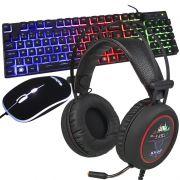 Kit Teclado Mouse Headset Gamer Computador Pc Usb Abnt2 Iluminado Led Rgb BK-G550 KP-401 Preto