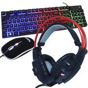 Kit Teclado Mouse Headset Gamer Computador Usb Abnt2 Iluminado Led Rgb BK-G550 GH-X20 Preto/Vermelho
