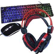 Kit Teclado Mouse Headset Gamer Computador Usb Abnt2 Iluminado Led Rgb BK-G550 GH-X30 Preto/Vermelho