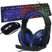 Kit Teclado Mouse Headset Gamer Computador Usb Abnt2 Iluminado Led Rgb BK-G550 KP-396 Preto/Azul